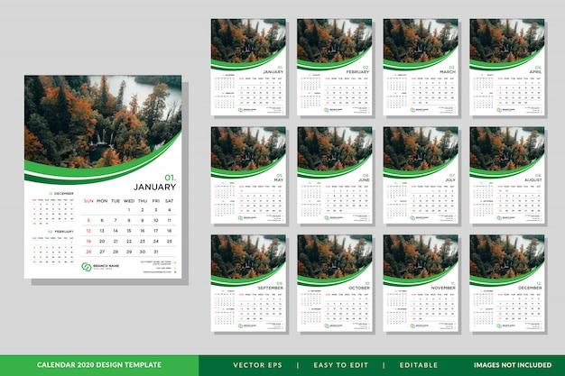Ensemble de modèles de calendrier minimaliste 2020