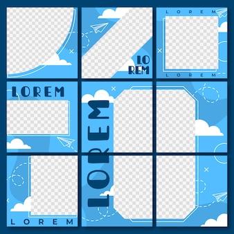 Ensemble de modèles carrés d'alimentation de puzzle instagram