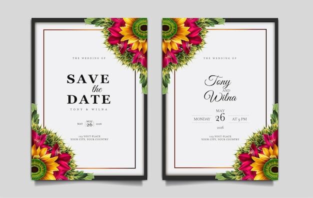 Ensemble de modèles de carte d'invitation de mariage de luxe enregistrer la date