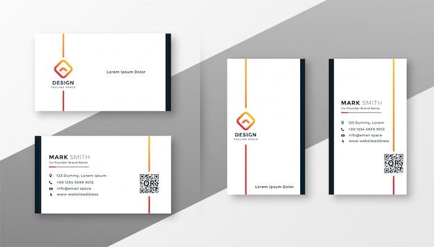 Ensemble de modèles de carte de visite blanc minimal