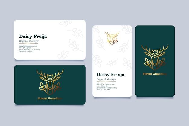 Ensemble de modèles de carte de visite en feuille d'or