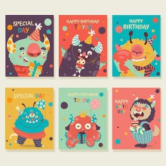 Ensemble de modèles de cartes d'anniversaire colorées