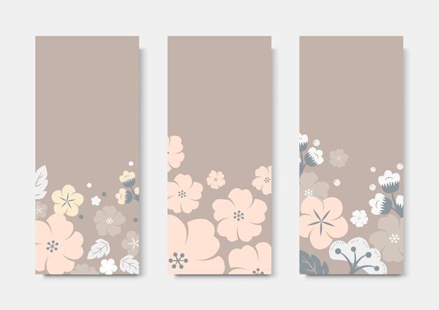 Ensemble de modèles de cartes de fleurs colorées