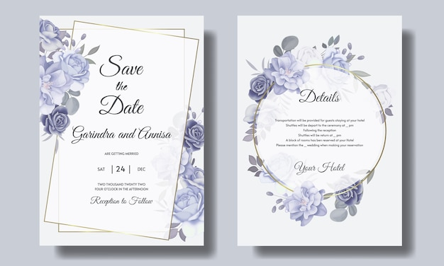 Ensemble de modèles de cartes d'invitation de mariage beau cadre floral bleu