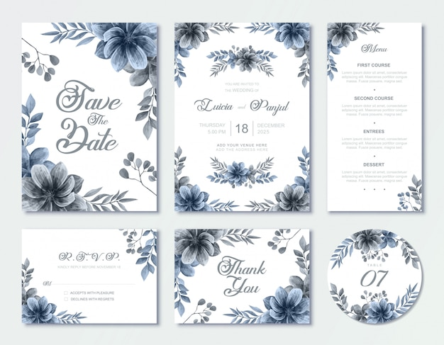 Ensemble de modèles de cartes d'invitation de mariage bleu avec tableau de menu de rsvp de style floral aquarelle