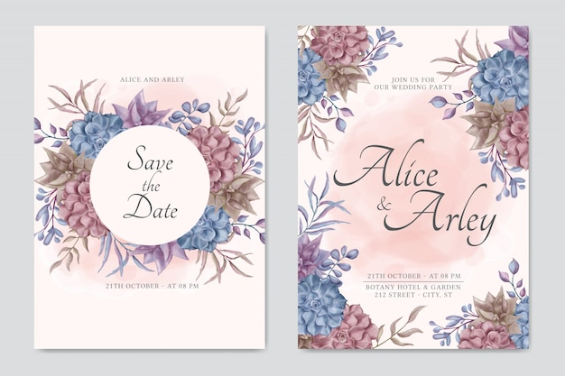 Ensemble de modèles de cartes d'invitation de mariage bouquet floral succulent coloré