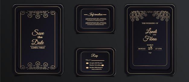 Ensemble de modèles de cartes d'invitation de mariage élégant
