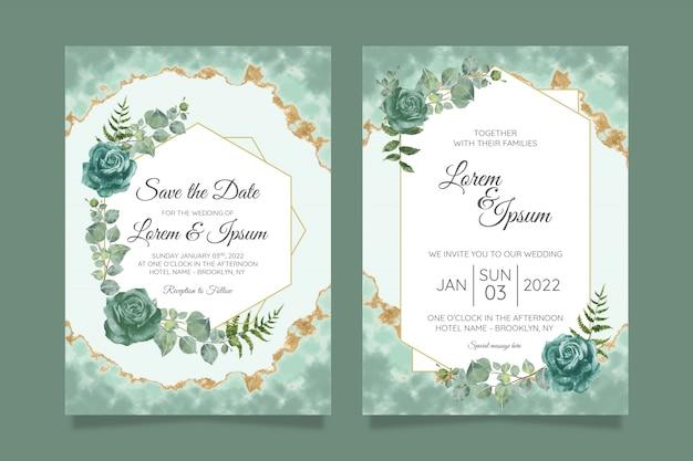 Ensemble de modèles de cartes d'invitation de mariage floral
