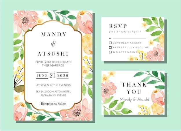 Ensemble de modèles de cartes d'invitation de mariage vintage floral aquarelle corail