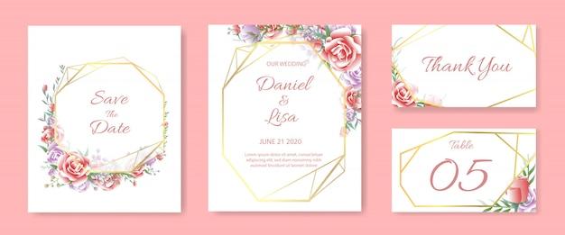 Ensemble de modèles de cartes d'invitation de mariage