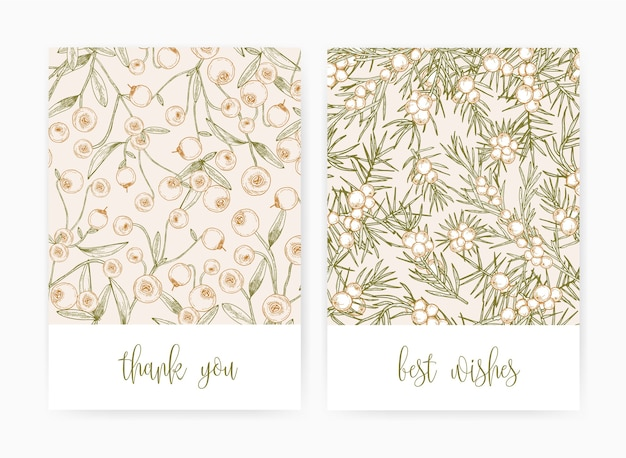 Ensemble de modèles de cartes postales ou de cartes de voeux avec canneberges et baies de genièvre et feuilles dessinées à la main