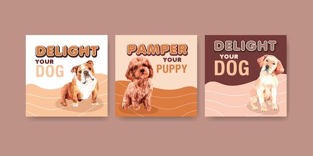 Ensemble de modèles de cartes publicitaires aquarelle chien