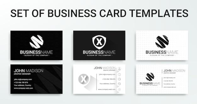 Ensemble de modèles de cartes de visite modernes noir et blanc
