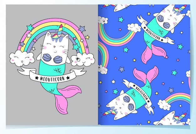 Ensemble de modèles de chat sirène mignons dessinés à la main
