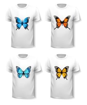 Ensemble de modèles de chemises avec des motifs de papillons. vecteur.