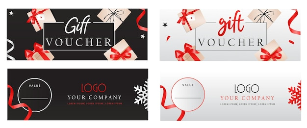 Ensemble de modèles de chèques-cadeaux de luxe avec des arcs et des coffrets cadeaux