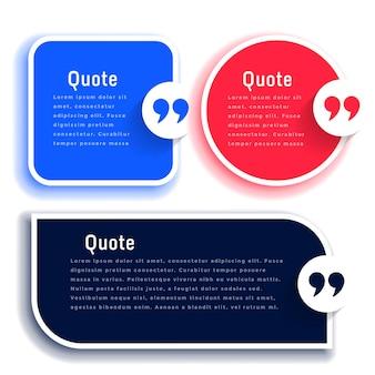 Ensemble de modèles de citations ou de boîtes de témoignage