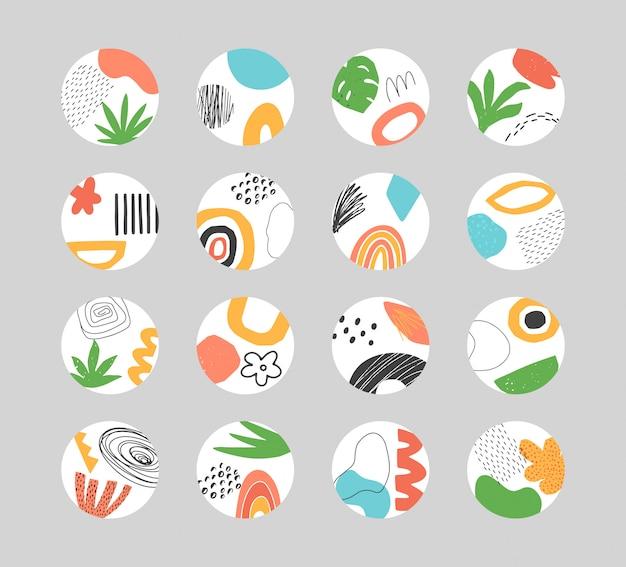 Ensemble de modèles de collage abstrait dessinés à la main pour les faits saillants des médias sociaux.