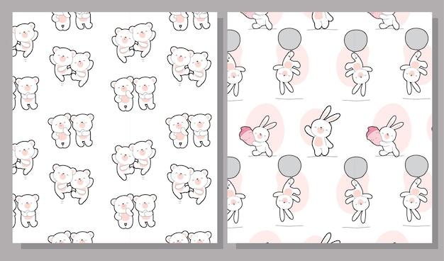 Ensemble de modèles de collection d'ours plats mignons bébés