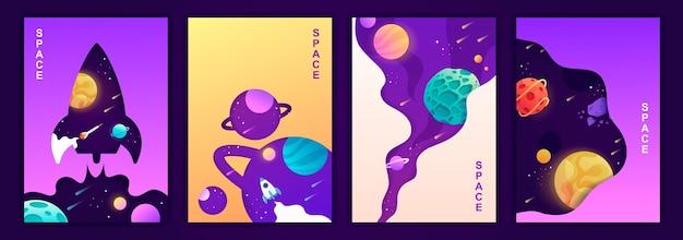 Ensemble de modèles colorés de bannières voyage spatial univers