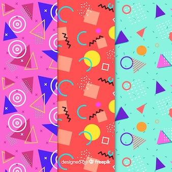 Ensemble de modèles colorés memphis