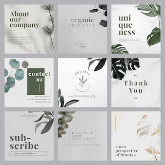 Ensemble de modèles de conception de bannière de marketing naturel minimaliste