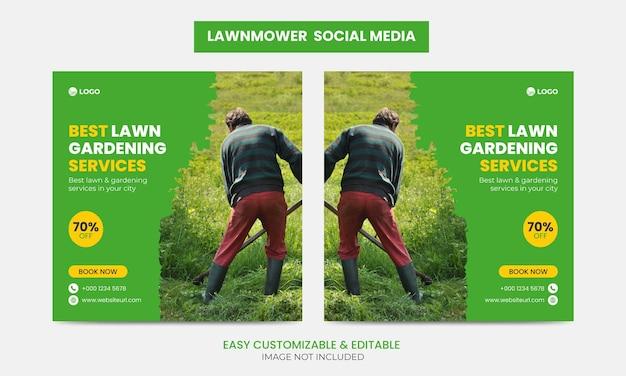 Ensemble de modèles de conception de bannière de publication de facebook instagram pour la promotion de la tondeuse à gazon