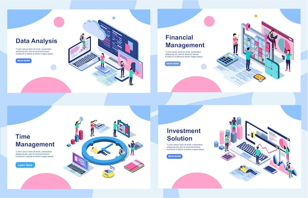 Ensemble de modèles de conception de bannières pour l'analyse des données, la stratégie de marketing numérique, l'augmentation de vos revenus et l'audit financier.