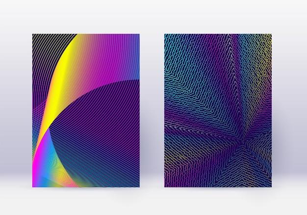 Ensemble de modèles de conception de couverture. disposition de brochure moderne de lignes abstraites. dégradés de demi-teintes vibrants arc-en-ciel sur fond bleu foncé. agréable brochure, catalogue, affiche, livre etc.