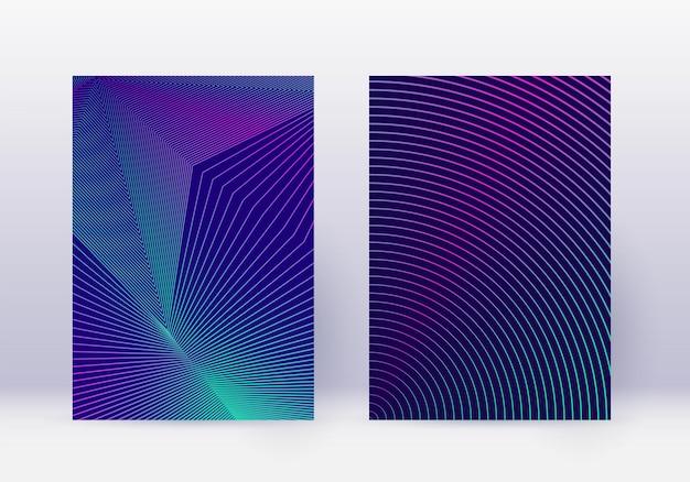 Ensemble de modèles de conception de couverture. disposition de brochure moderne de lignes abstraites. dégradés de demi-teintes vibrants néon sur fond bleu foncé. splendide brochure, catalogue, affiche, livre etc.