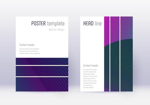 Ensemble de modèles de conception de couverture géométrique. lignes abstraites néon sur fond bleu foncé. conception de couverture envoûtante. catalogue curieux, affiche, modèle de livre, etc.