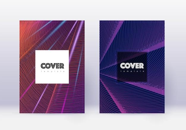 Ensemble de modèles de conception de couverture de hipster. lignes abstraites violettes sur fond sombre. conception de couverture curieuse. catalogue idéal, affiche, modèle de livre, etc.