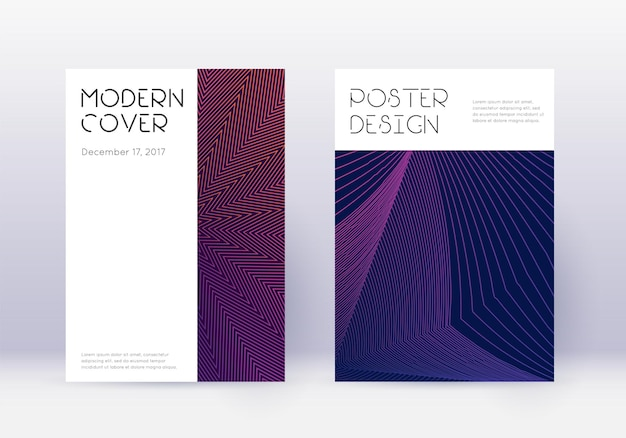 Ensemble de modèles de conception de couverture minimale. lignes abstraites violettes sur fond sombre. conception de couverture délicate. catalogue élégant, affiche, modèle de livre, etc.