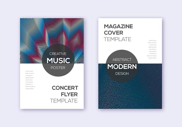 Ensemble de modèles de conception de couverture moderne. lignes abstraites bleu blanc rouge sur fond sombre. conception de couverture exquise. grand catalogue, affiche, modèle de livre, etc.
