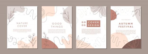 Ensemble de modèles de conception de couverture universelle créative abstraite avec concept automne