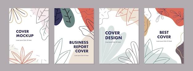 Ensemble de modèles de conception de couverture universelle créative abstraite avec concept d'automne
