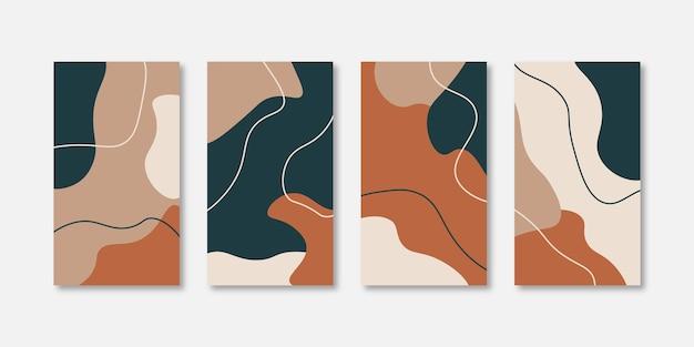 Ensemble de modèles de conception de couverture universelle créative abstraite pour les histoires instagram et facebook