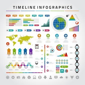 Ensemble de modèles de conception infographie timeline