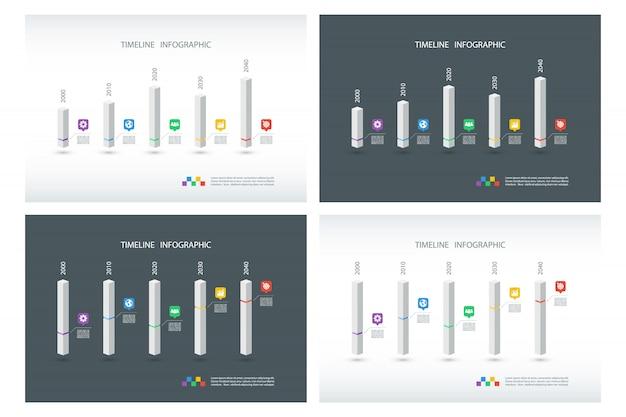 Ensemble de modèles de conception infographique de chronologie.