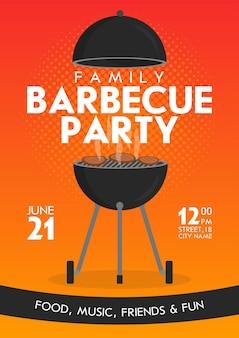 Ensemble de modèles de conception d'invitation de fête barbecue vecteur belle. conception d'affiches de barbecue à la mode avec barbecue au charbon de bois classique, fourchette, palette de cuisson et exemple de texte