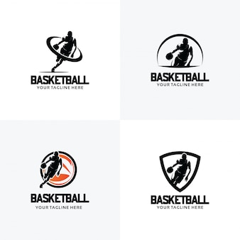 Ensemble de modèles de conception de logo de basket-ball