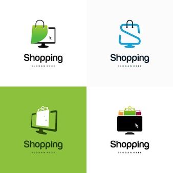Ensemble De Modèles De Conception De Logo De Boutique En Ligne, Ordinateur Et Logo De Sac à Provisions Vecteur Premium