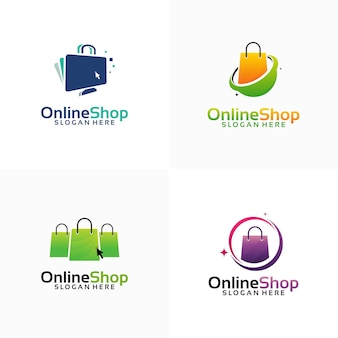 Ensemble de modèles de conception de logo de boutique en ligne, ordinateur et logo de sac à provisions