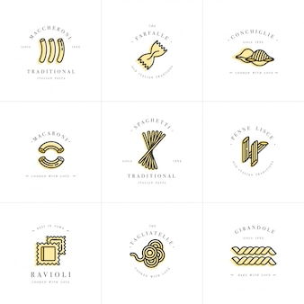 Ensemble de modèles de conception de logo et emblèmes ou insignes. pâtes italiennes - nouilles, macaronis. logos linéaires.