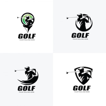Ensemble de modèles de conception de logo de golf