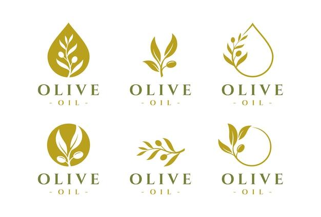 Ensemble de modèles de conception de logo d'huile d'olive