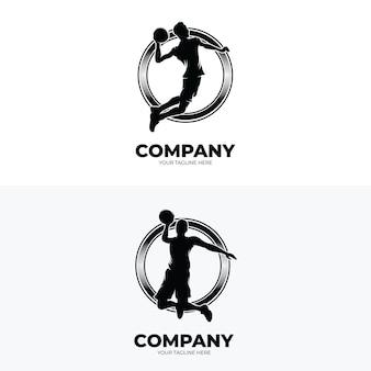 Ensemble de modèles de conception de logo de joueur de basket-ball