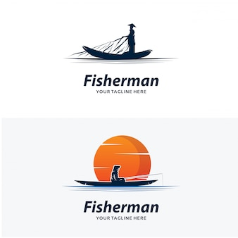 Ensemble de modèles de conception de logo pêcheur