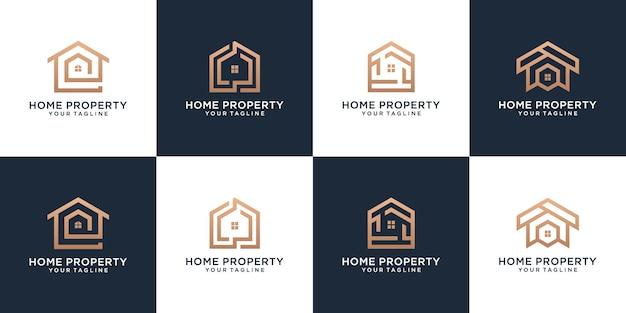 Ensemble de modèles de conception de logo de propriété à domicile avec une marque dorée avec un style d'art en ligne créatif