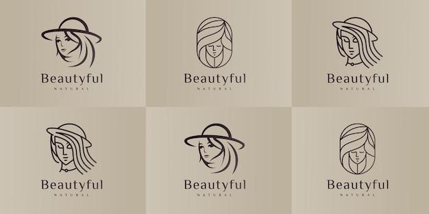 Ensemble de modèles de conception de logo de salon de beauté et de coiffure.